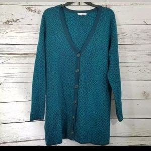 Mizrahi Live  Cardigan Sweater Turquoise button L